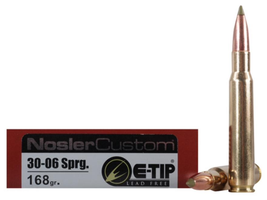 Nosler Trophy Grade Ammunition 30-06 Springfield 168 Grain E-Tip Lead-Free Box of 20