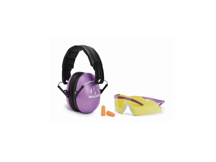 Walker's Youth & Women Earmuffs (NRR 27dB) and Shooting Glasses Kit Purple