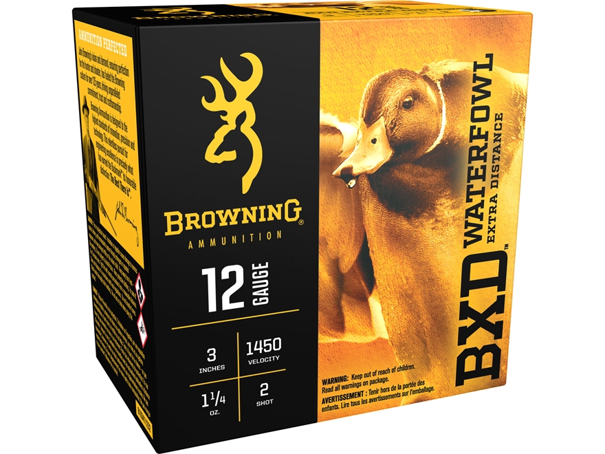 "Browning BXD Waterfowl Ammunition 12 Gauge 3"" 1-1/4 oz #2 Non-Toxic Steel Shot"
