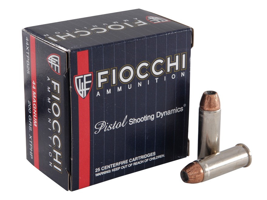 Fiocchi Extrema Ammunition 44 Remington Magnum 200 Grain Hornady XTP Jacketed Hollow Po...