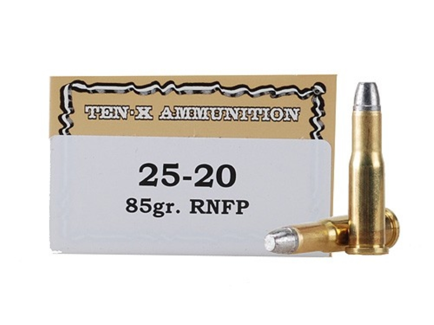Ten-X Cowboy Ammunition 25-20 WCF 85 Grain Lead Round Nose Flat Point Box of 50