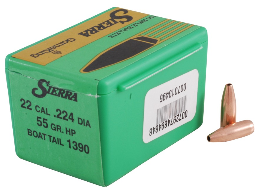 Sierra GameKing Bullets 22 Caliber (224 Diameter) 55 Grain Hollow Point Boat Tail Box o...