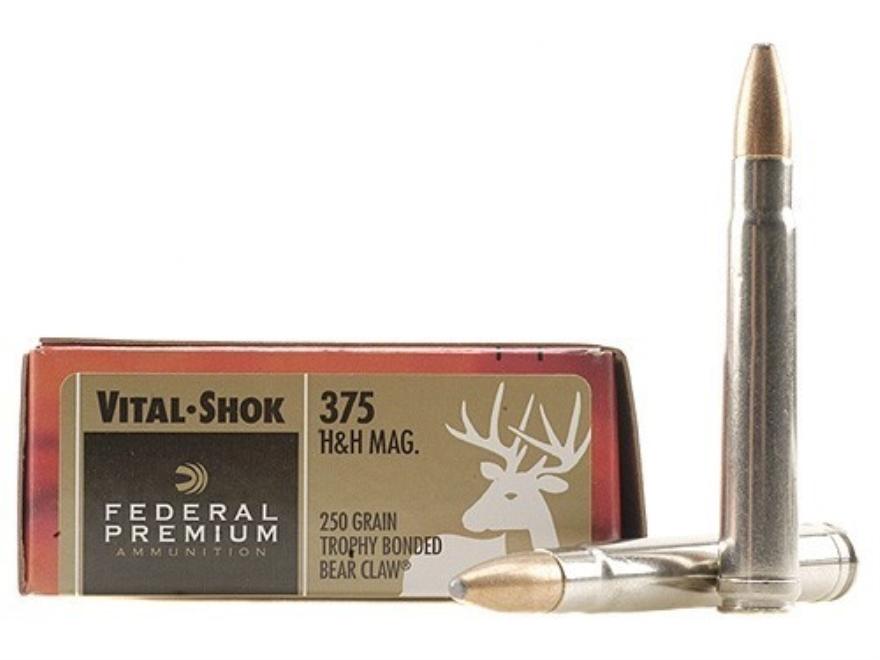 Federal Premium Vital-Shok Ammunition 375 H&H Magnum 250 Grain Trophy Bonded Bear Claw