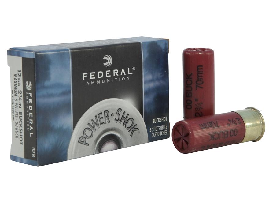 """Federal Power-Shok Ammunition 12 Gauge 2-3/4"""" Buffered 00 Buckshot 9 Pellets Box of 5"""