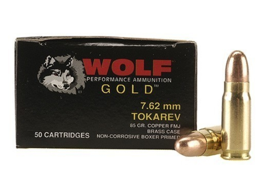 Wolf Gold Ammunition 7.62x25mm Tokarev 85 Grain Full Metal Jacket Box of 50