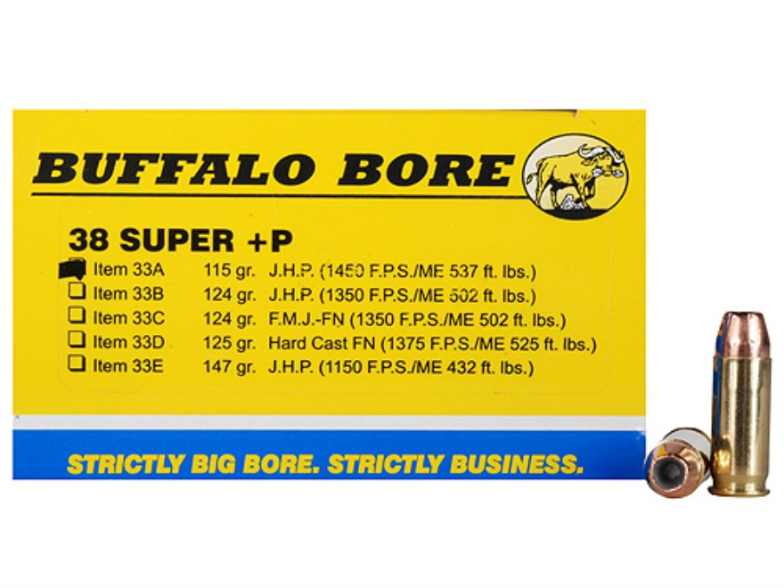 Buffalo Bore Ammunition Outdoorsman 38 Super +P 115 Grain Jacketed Hollow Point Box of 20