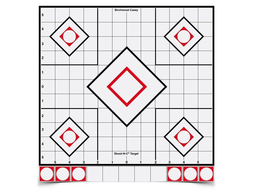 """Birchwood Casey Shoot-N-C White/Black Targets 12"""" Sight-In Pack of 5"""