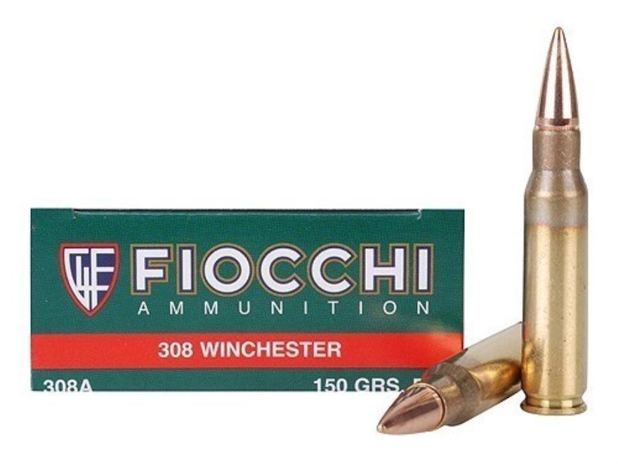 Fiocchi Shooting Dynamics Ammunition 308 Winchester 150 Grain Full Metal Jacket Boat Ta...