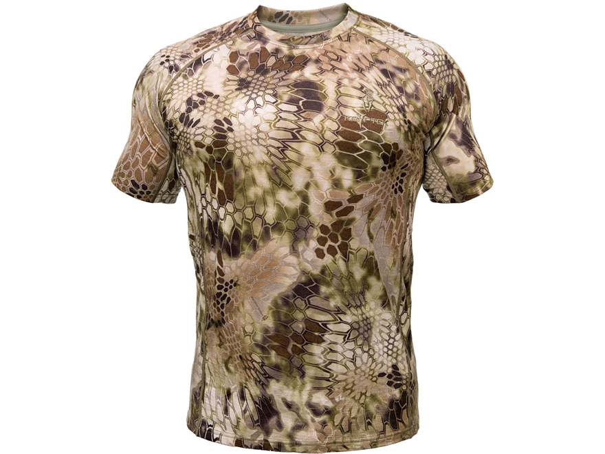 Kryptek Men's Hoplite Base Layer Shirt Short Sleeve Merino Wool Highlander Camo