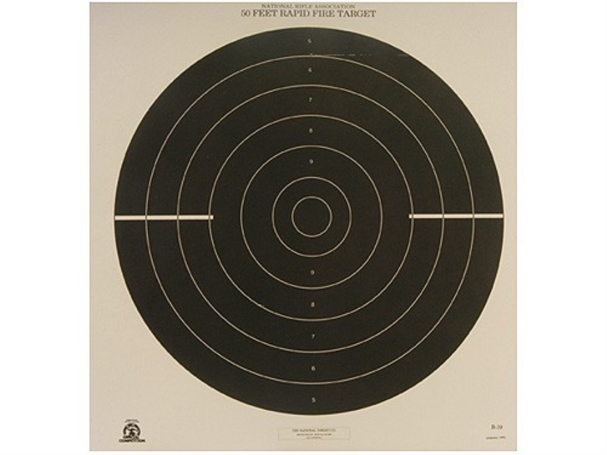 NRA Official International Pistol Targets B-39 50' Rapid Fire Paper Pack of 100