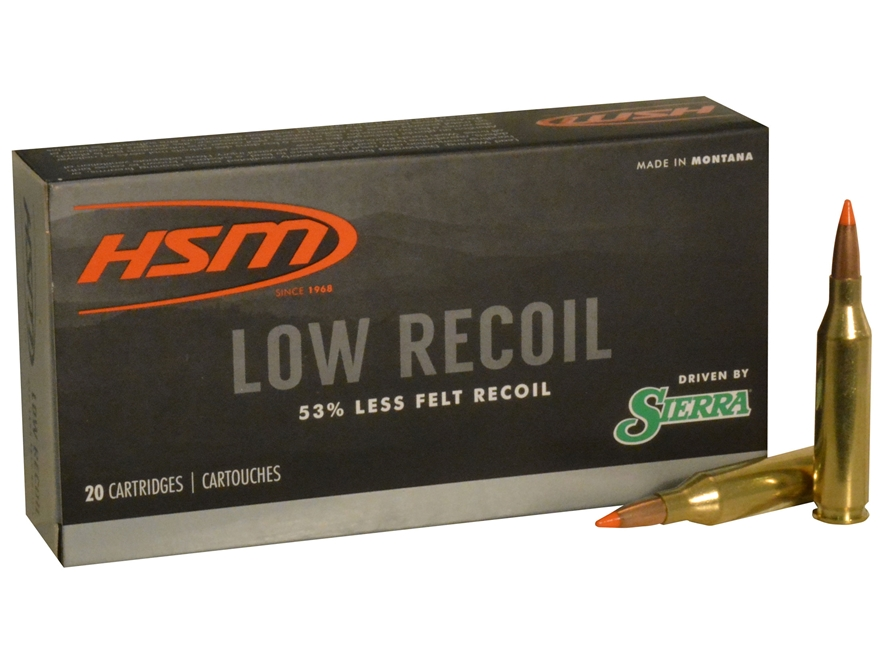 HSM Low Recoil Ammunition 243 Winchester 85 Grain Sierra Tipped Spitzer Boat Tail Box o...