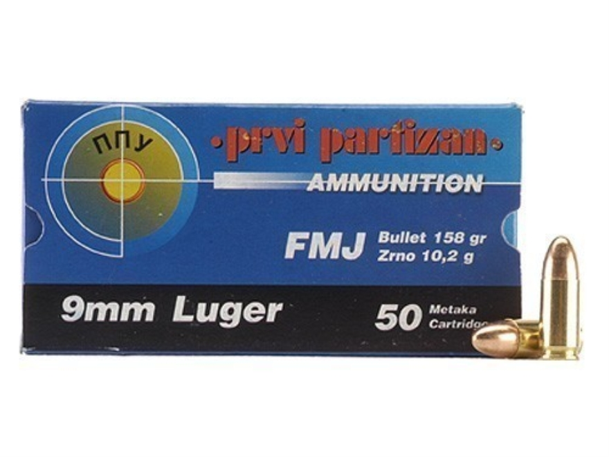 Prvi Partizan Ammunition 9mm Luger 158 Grain Full Metal Jacket Box of 50