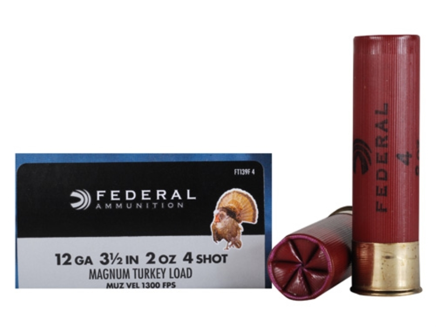 "Federal Strut-Shok Turkey Ammunition 12 Gauge 3-1/2"" 2 oz Buffered #4 Shot Box of 10"