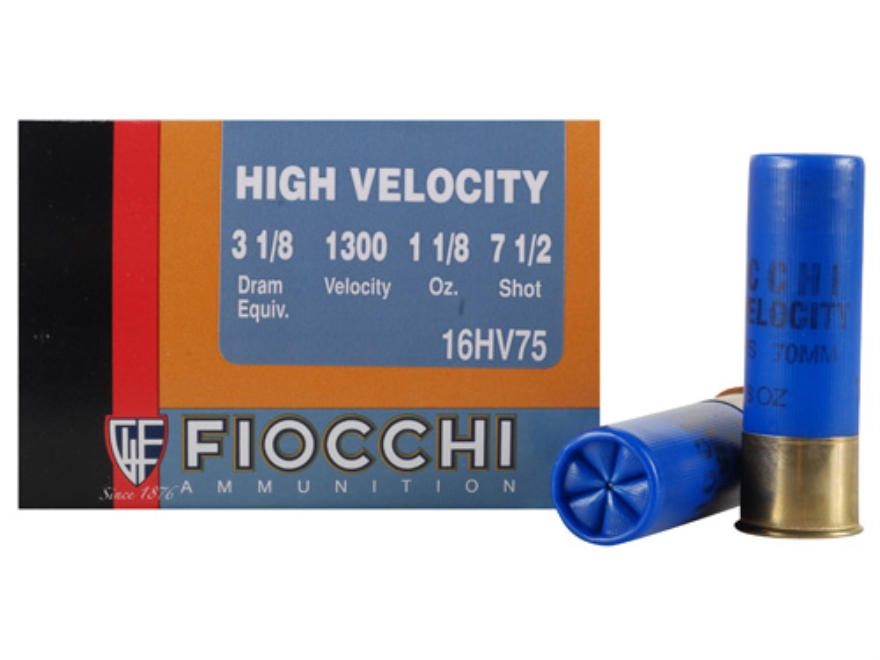"Fiocchi High Velocity Ammunition 16 Gauge 2-3/4"" 1-1/8 oz #7-1/2 Chilled Lead Shot Box ..."
