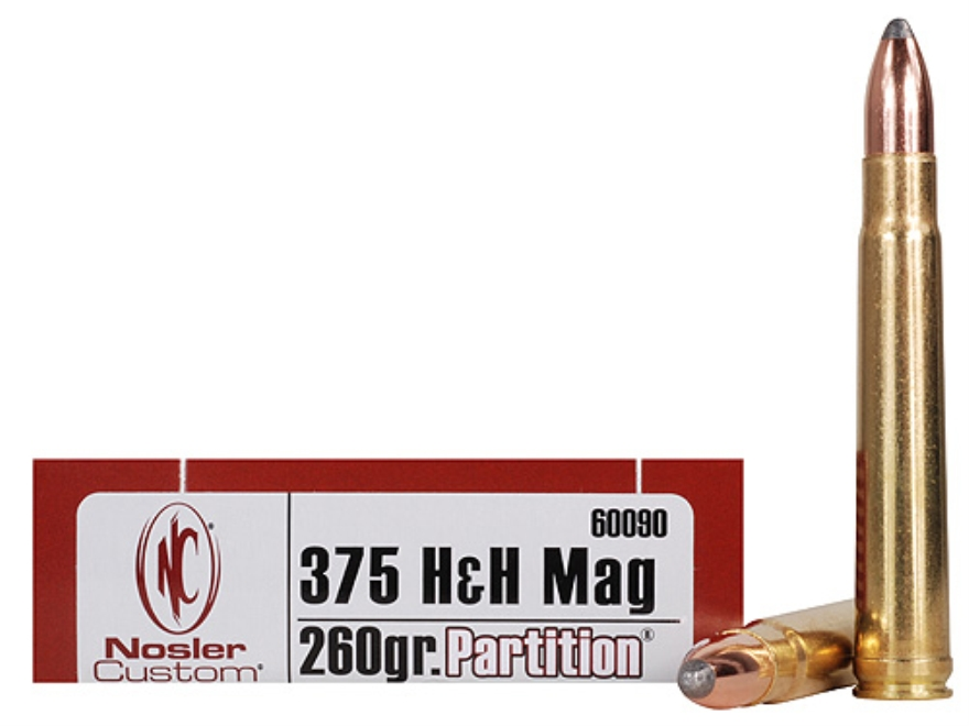 Nosler Trophy Grade Ammo 375 H&H Mag 260 Grain Partition