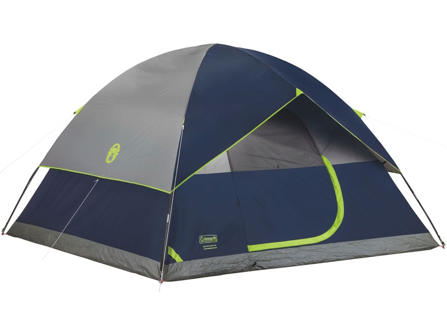 "Coleman Sundome 6 Man Dome Tent 120"" x 120"" x 72"" Polyester Navy Blue and Gray"