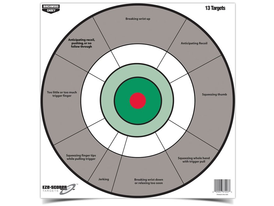"Birchwood Casey Eze-Scorer Handgun Trainer 12"" Target Package of 13"