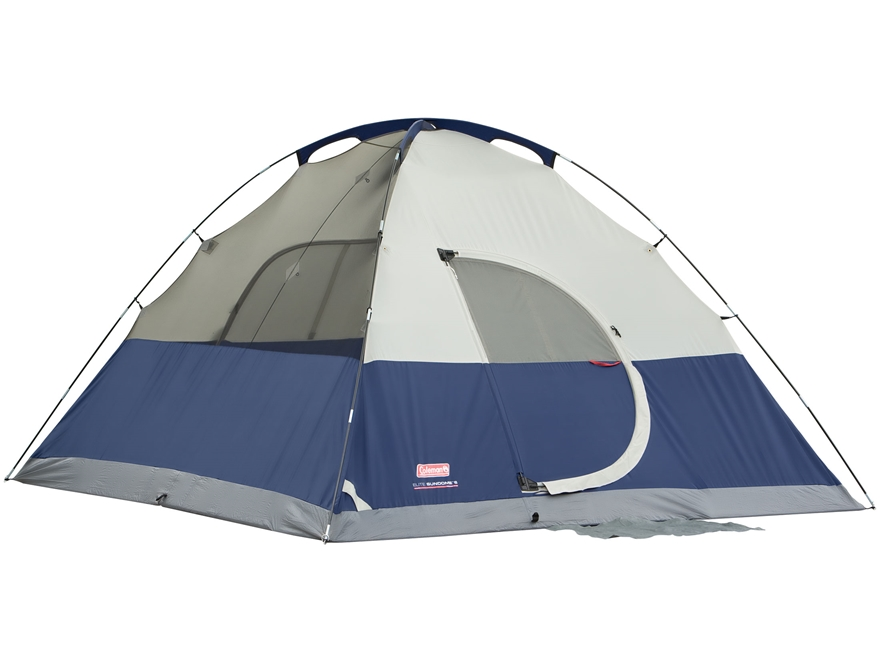 "Coleman Evanston Elite 6 Man Dome Tent 120"" x 144"" x 72"" Polyester Blue, White and Gray"