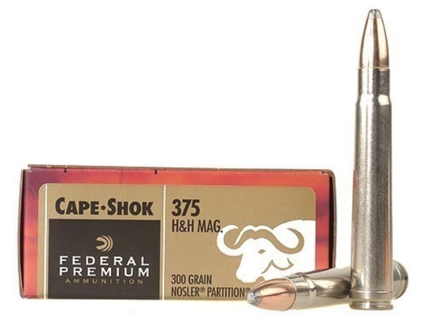 Federal Premium Cape-Shok Ammunition 375 H&H Magnum 300 Grain Nosler Partition Box of 20