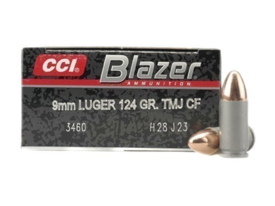 Blazer Clean-Fire Ammunition 9mm Luger 124 Grain Total Metal Jacket Box of 50