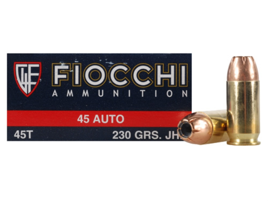 Fiocchi Shooting Dynamics Ammunition 45 ACP 230 Grain Jacketed Hollow Point Box of 50