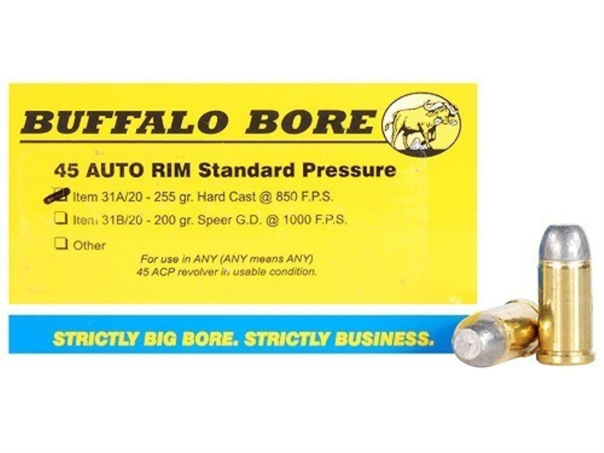 Buffalo Bore Ammunition 45 Auto Rim (Not ACP) 255 Grain Hard Cast Flat Nose Box of 20