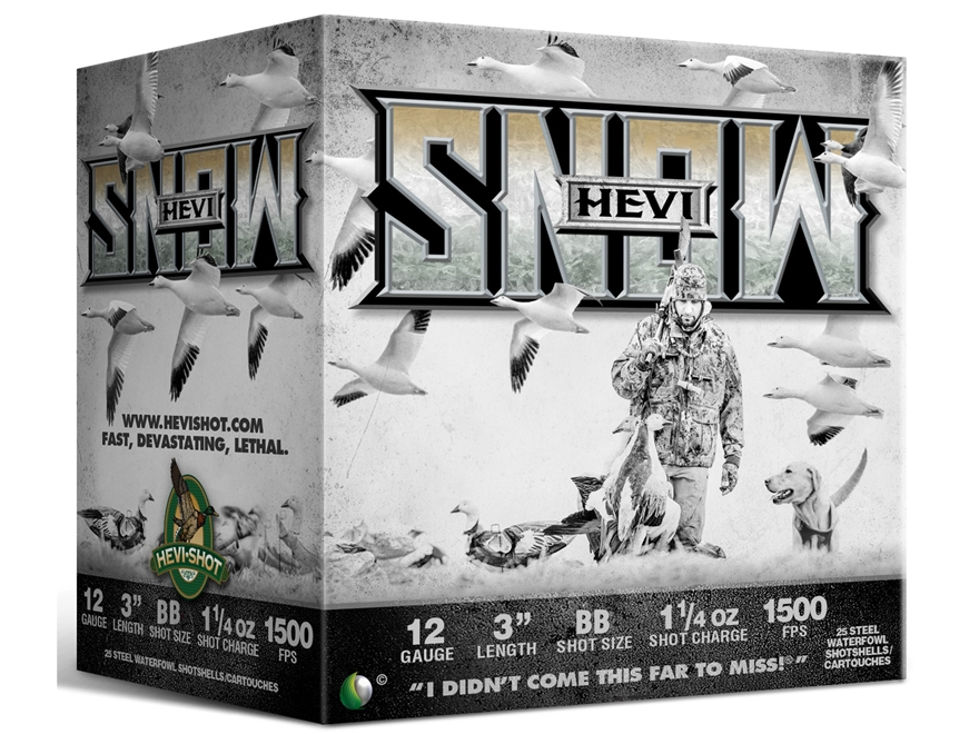 "Hevishot Hevi-Snow Waterfowl Ammunition 12 Gauge 3"" 1-1/4 oz BB Non-Toxic Shot"
