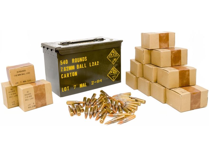 Military Surplus Ammunition 7.62x51mm 146 Grain Full Metal Jacket Berdan Primed Ammo Ca...
