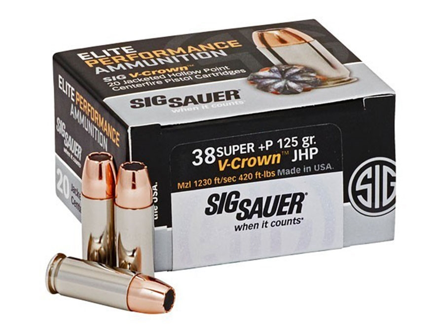Sig Sauer Elite Performance Ammunition 38 Super +P 125 Grain V-Crown Jacketed Hollow Po...