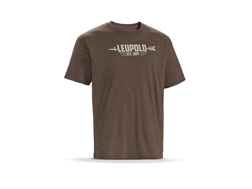 Leupold Men's Arrow Logo T-Shirt Short Sleeve Cotton/ Polyester Blend Brown Heather