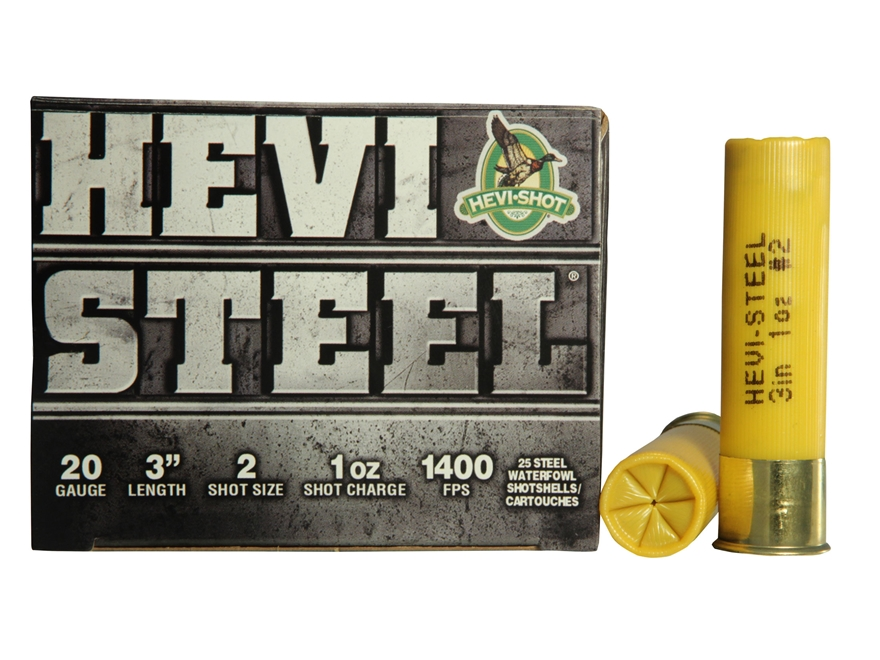 "Hevi-Shot Hevi-Steel Waterfowl Ammunition 20 Gauge 3"" 7/8 oz #2 Non-Toxic Shot"