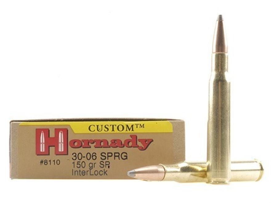 Hornady Custom Ammunition 30-06 Springfield 150 Grain InterLock Spire Point Box of 20