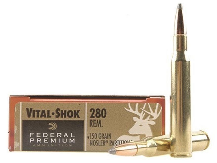 Federal Premium Vital-Shok Ammunition 280 Remington 150 Grain Nosler Partition Box of 20
