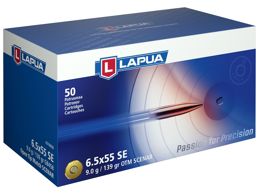 Lapua Scenar Ammunition 6.5x55mm Swedish Mauser 139 Grain Hollow Point Boat Tail Box of 50
