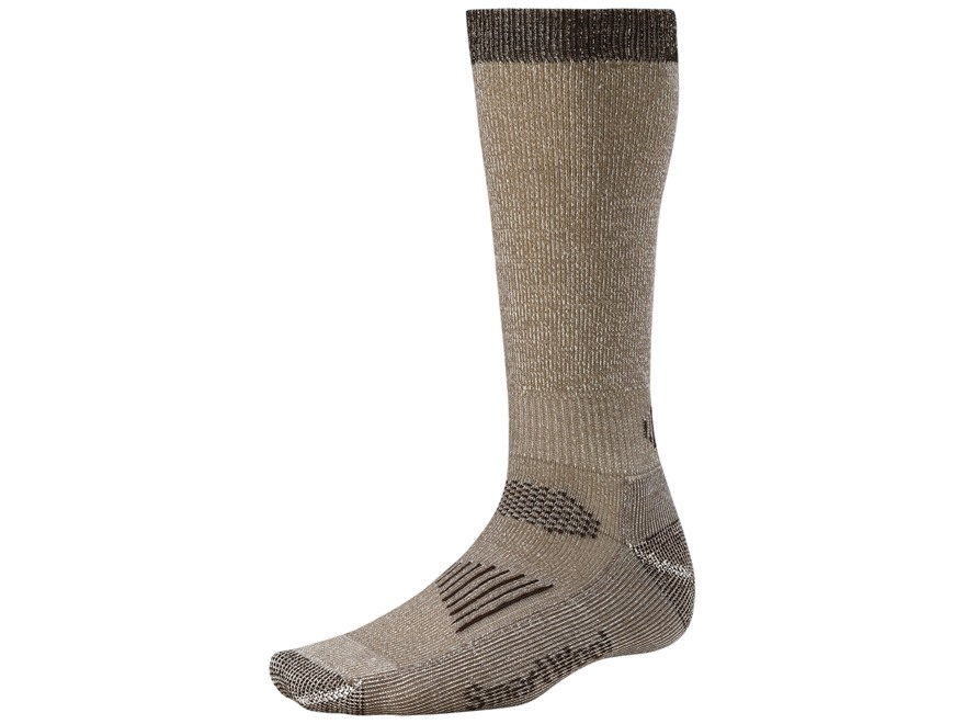 Smartwool Men's Hunt Light Over the Calf Socks Wool Blend Taupe and Brown 1 Pair