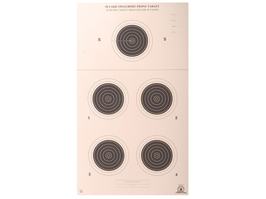 NRA Official Smallbore Rifle Targets A-27 50-Yard Prone Paper Pack of 100