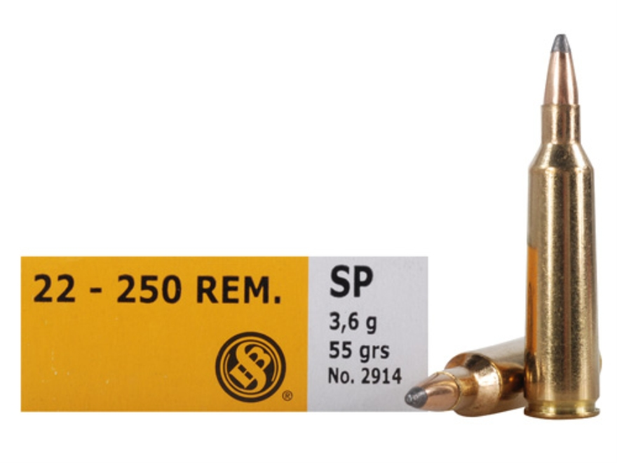 Sellier & Bellot Ammunition 22-250 Remington 55 Grain Soft Point Box of 20