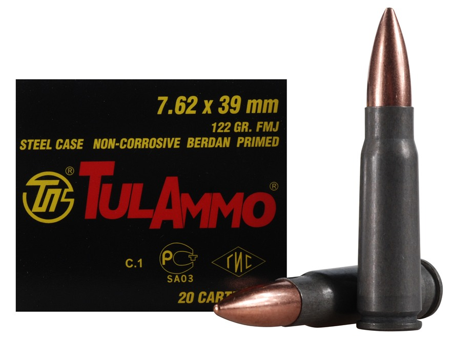 TulAmmo Ammunition 7.62x39mm 122 Grain Full Metal Jacket (Bi-Metal) Steel Case Berdan P...