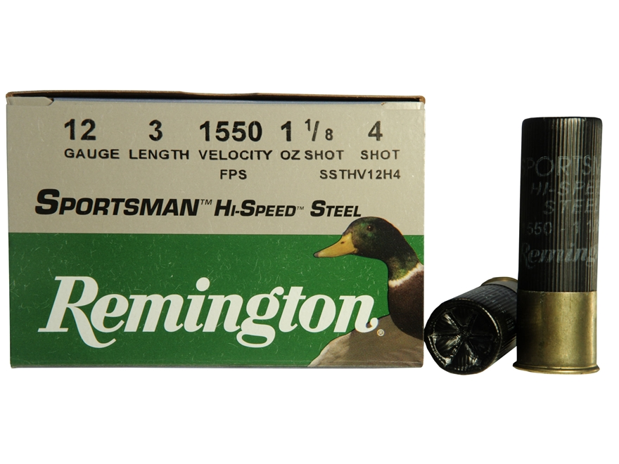 "Remington Sportsman Hi-Speed Ammunition 12 Gauge 3"" 1-1/8 oz #4 Non-Toxic Steel Shot"