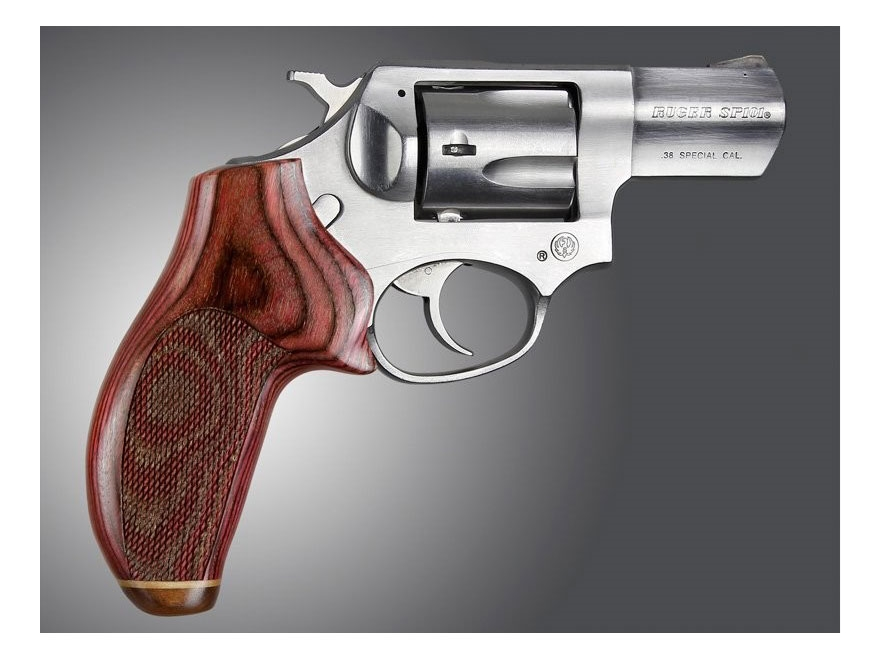 Hogue Fancy Hardwood Grips with Accent Stripe Ruger SP101 Checkered