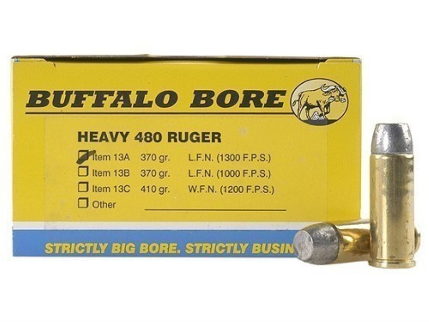 Buffalo Bore Ammunition Outdoorsman 480 Ruger 370 Grain Lead Flat Nose Box of 20