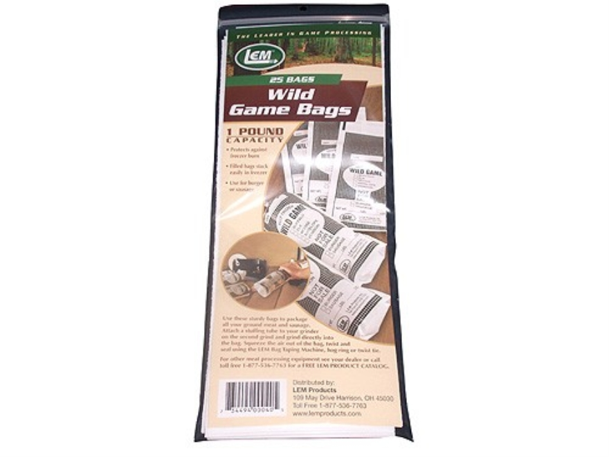 LEM Ground Wild Game Meat Bags 1 lb Pack of 25