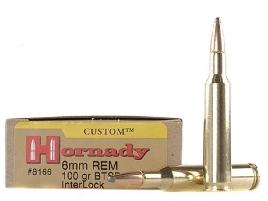 Hornady Custom Ammunition 6mm Remington 100 Grain InterLock Spire Point Boat Tail Box o...