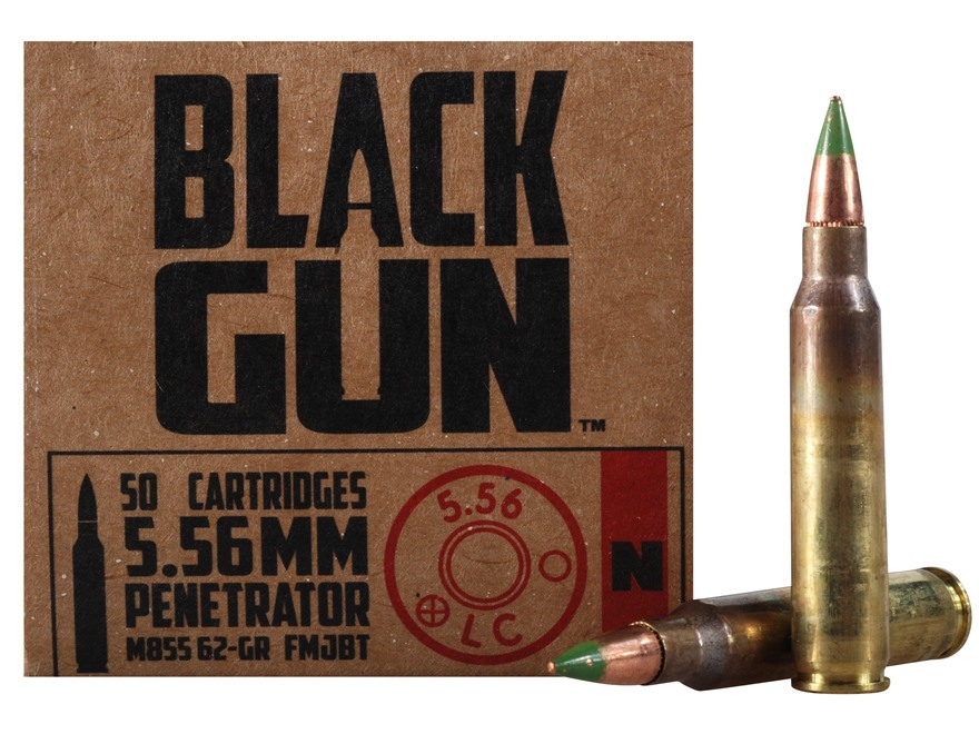 BlackGun Industries Ammunition 5.56x45mm NATO 62 Grain M855 SS109 Penetrator Full Metal...