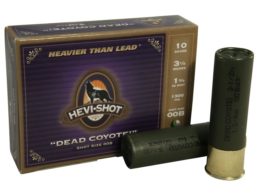 "Hevi-Shot Dead Coyote Ammunition 10 Gauge 3-1/2"" 00 Buckshot Non-Toxic 15 Pellets Box of 5"