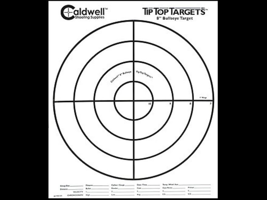 """Caldwell Tip Top Target 8"""" Bullseye Package of 25"""
