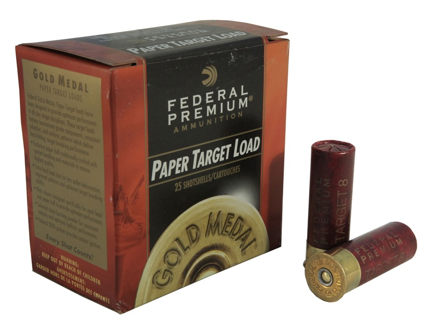 """Federal Premium Gold Medal Paper Ammunition 12 Gauge 2-3/4"""" 1-1/8 oz #8 Shot"""