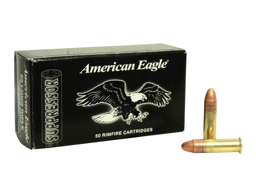 Federal American Eagle Suppressor Ammunition 22 Long Rifle 45 Grain Copper Plated Lead ...