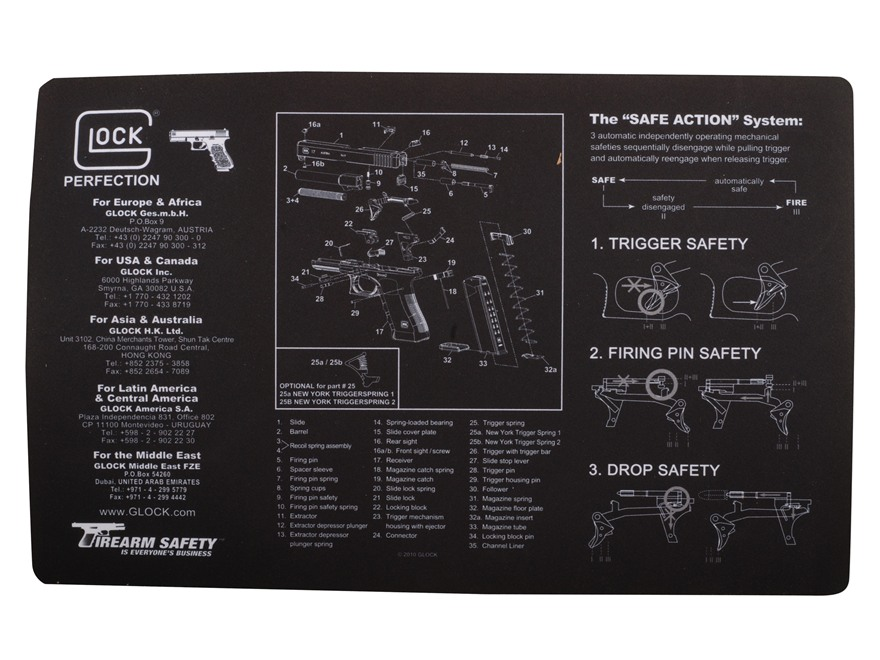 "Glock Gunsmith's Gun Cleaning and Maintenance Mat 11"" x 17"""