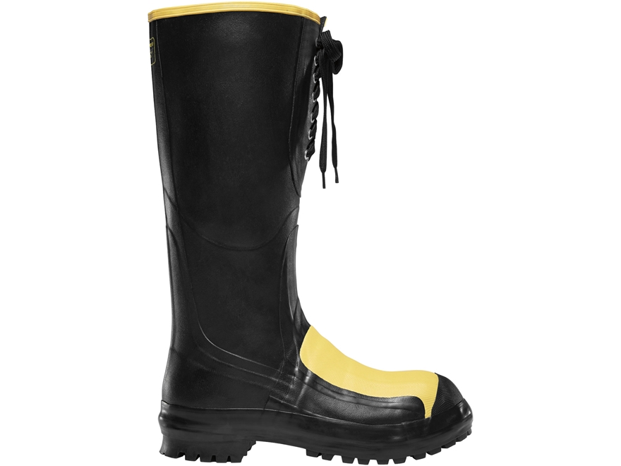 "LaCrosse Meta Pac 16"" Waterproof Steel Toe Work Boots Rubber Black Men's"